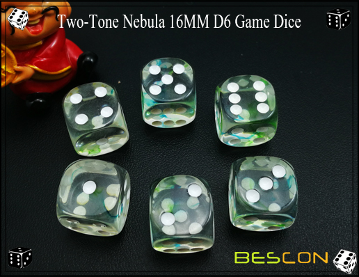 Two-Tone Nebula 16MM D6 Game Dice-10