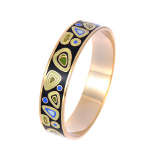 Rose gold stainless steel enamel bangle bracelets