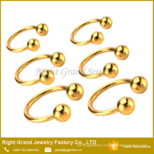 Titanium Plated Stainless Steel Nose Ring Circular Barbell HorseShoe Body Jewelry