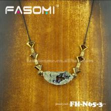 Atraente moda ouro joias colar de pedra Druzy por atacado
