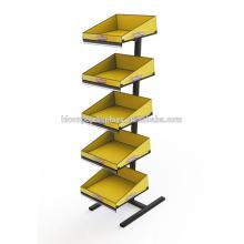 Rack de armazenamento de varejo Loja de padaria Loja de biscoito autônomo Suporte de pão nivelado de metal