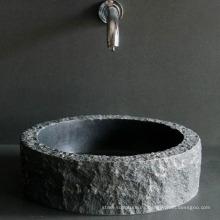 Fregadero de mármol negro natural de piedra (servicio por encargo y suministro de la fábrica)