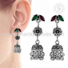 Women's Jhumka Jewelry Green Onyx Ruby Sterling Silver Jewelry Gemstone Earring Indian Silver Jewelry
