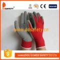 Nylon rojo con guantes de látex gris-Dnl751