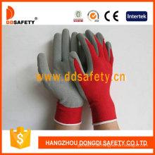 Rotes Nylon mit grauem Latex-Handschuh-Dnl751
