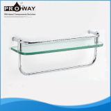 Bathroom Vanity Sanitary Fittings Holder Glass Shelf With 2 Stainless Steel Bars