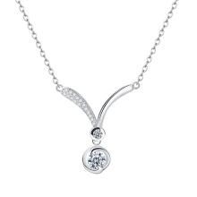 Collar de plata cúbico plateado oro elegante del zirconia