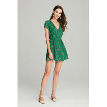 Lässiges Damenkleid aus Chiffon mit Blumendruck für den Sommer
