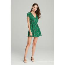 vestido casual de gasa estampado floral para mujer para el verano