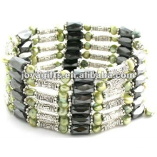 Magnetic Green Pearl Beaded wrap Bracelets & Necklace 36""