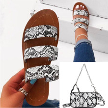 women snake shoes and matching bags  in stock  fashion slippers 2020 women Clear PVC  slippers matching  bag