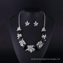 Großer Achat und tschechischer Strass Silber Überzug Halskette Set