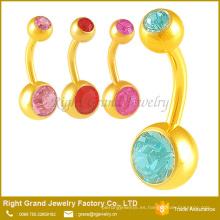 Diseño simple del cuerpo del ombligo joyería Doble Rhinestone del ombligo anillos Piercing