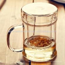Regalo promocional HandBlown Clear Pyrex vaso de vidrio de té con tapa