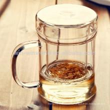 Рекламных Подарок HandBlown Ясно Термостойкого Чайный Стеклянный Стакан С Крышкой