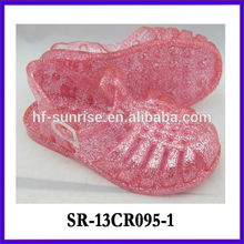 SR-13CR095-1 children glitter jelly sandals kids pvc sandals latest new children wholesale jelly sandals