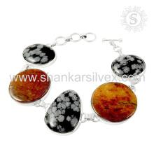 Gleaming snowflake obsidian silver bracelet 925 sterling silver gemstone bracelets jewellery wholesale supplier
