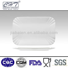 Elegant restaurant rectangle bone china plate in different sizes
