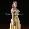 2017 new fashion 2pcs set yellow color satin long bridesmaid dresses wholesale