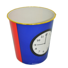 Plastic Clock Design Open Top Waste Bin for Home (B06-872)