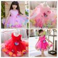 2017hot розовые наряды девочка платье милый дизайн украшения цветок девочка платья Принцесса один шт детские девушки платье для свадьбы