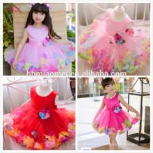 2017 shot pink party wear baby girl dress diseño lindo decoración de la flor Girl Princess Dresses una pieza vestido de niña bebé para la boda