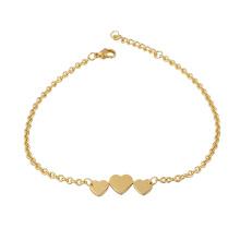 Diseño de corazón de brazalete de oro de 24 quilates con pulsera de cotización en blanco