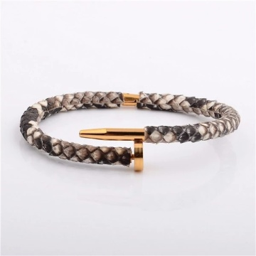 Genuine Python Skin Nail  Stingary Bracelet