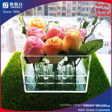 Simple Design Clear Acrylic Square Flower Box with Lid