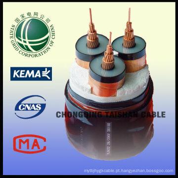 Grade do estado 26 / 35kV XLPE isolou 3 fios 150sqmm cabo de alimentação de YJV