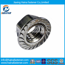 Stainless steel 304 hex flange nut with serrated