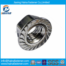 Нержавеющая сталь 304 шестигранная гайка с зубчатым зацеплением