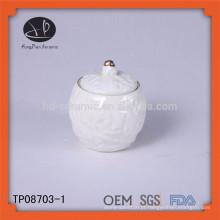 Embossed branco cerâmica por atacado jarros / jarras vela atacado / armazenamento de cozinha