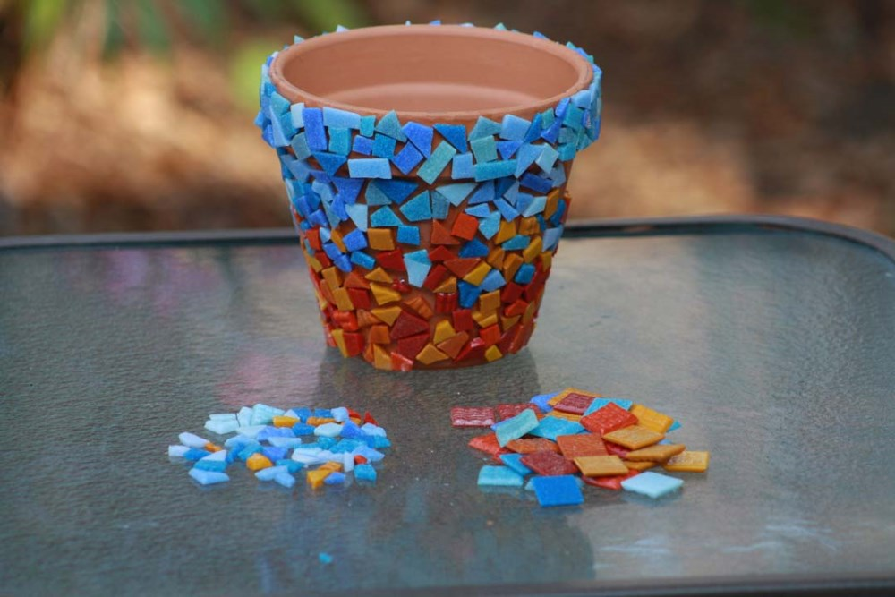 Glass Mosaic for Flower Pot