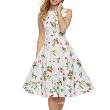 Vestido de impressão sem mangas cereja sexy feminino verão europeu