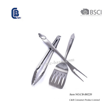 3PCS Deluxe Stainless Steel BBQ Grill Tools