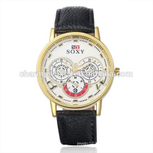 Meilleures ventes Vogue Quartz Montre bracelet en cuir coloré SOXY003