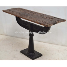 Cast Iron Classic Base Reclaimed Pine Wood Top Console table