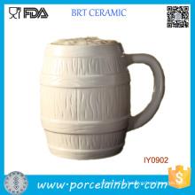 Fancy Characteristic Milk White Ceramic Beer Mug