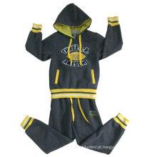 Crianças de lã de inverno terno conjuntos em roupas de crianças com Cardigan com capuz menino ternos Swb-105