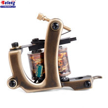 Solong M201-2 New Brass Tattoo Machine Gun for Shader Handmade Profesional 10 Wraps Pure Copper Tattoo Coils Machine