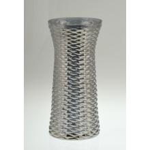 Vaso de vidro cilíndrico em francês cinza