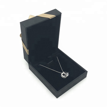 Black Luxury Paper Jewelry Hadiah Pendant Packing Box