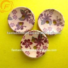 printing flower pattern wooden button for artware