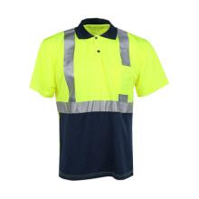 Kurzes Hülsen-reflektierendes Sicherheits-T-Shirt mit Tasche