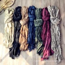 Fashion plain Top selling women wide hijab muslim long cotton linen scarf