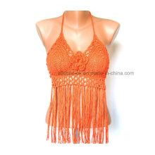 OEM Ladies Fashion Fringe Lace Sexy Hand Crochet Tops