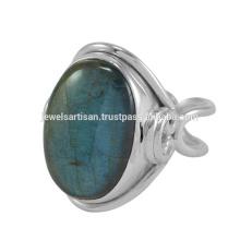 Natürliche Labradorit Edelstein 925 Sterling Silber Ring Schmuck