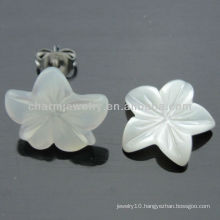 925 Silver Rhodium Plated Freshwater Shell Stud Earring EF-025