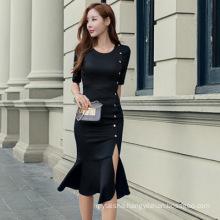 Mid-length banquet dress 2020 summer new Korean style temperament slim package hip split fishtail skirt with Lotus le